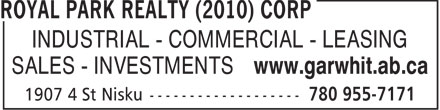 Royal Park Realty (2010) Corp (780-955-7171) - Annonce illustrée======= - INDUSTRIAL - COMMERCIAL - LEASING SALES - INVESTMENTS www.garwhit.ab.ca  INDUSTRIAL - COMMERCIAL - LEASING SALES - INVESTMENTS www.garwhit.ab.ca