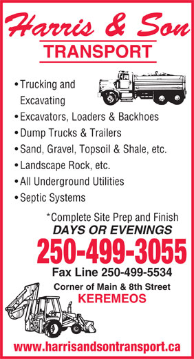 Harris & Son Transport (250-499-5574) - Display Ad -