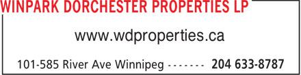 Winpark Dorchester Properties (204-633-8787) - Annonce illustrée======= - www.wdproperties.ca  www.wdproperties.ca
