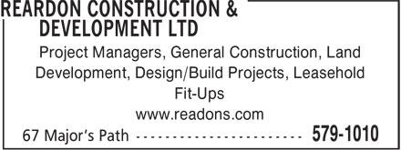 Reardon Construction & Development (709-579-1010) - Annonce illustrée======= - Project Managers, General Construction, Land Development, Design/Build Projects, Leasehold Fit-Ups www.readons.com