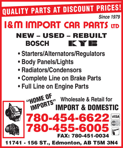 Ads I&M Import Car Parts Ltd