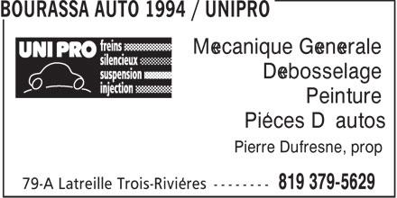 Bourassa Auto 1994 Enr (819-379-5629) - Annonce illustrée======= - Mécanique Générale Débosselage Peinture Pièces D'autos Pierre Dufresne, prop