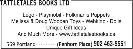 Tattletales Books Ltd (902-463-5551) - Annonce illustrée======= - Lego - Playmobil - Folkmanis Puppets Melissa & Doug Wooden Toys - Webkinz - Dolls Unique Gift Ideas And Much More - www.tattletalesbooks.ca Lego - Playmobil - Folkmanis Puppets Melissa & Doug Wooden Toys - Webkinz - Dolls Unique Gift Ideas And Much More - www.tattletalesbooks.ca