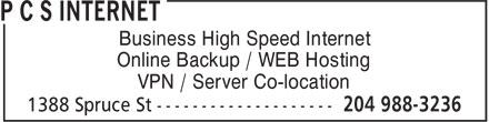 P C S Internet (204-988-3236) - Annonce illustrée======= - Business High Speed Internet Online Backup / WEB Hosting VPN / Server Co-location  Business High Speed Internet Online Backup / WEB Hosting VPN / Server Co-location