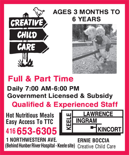 Ernie Boccia Creative Child Care (416-653-6305) - Display Ad - (Behind Hunber River Hospital - Keele site)
