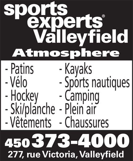 Sports Experts - Atmosphere (450-373-4000) - Annonce illustrée======= -