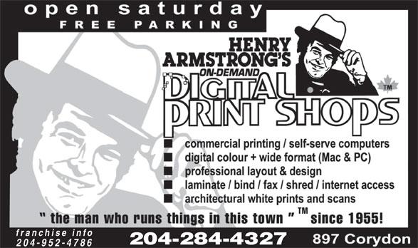 Henry Armstrong's Digital Print Shops (204-284-4327) - Annonce illustrée======= - franchise info 204-284-4327 204-952-4786  franchise info 204-284-4327 204-952-4786