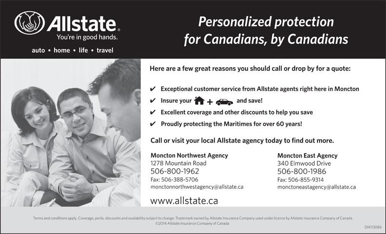 Allstate Compagnie d'assurance du Canada (506-859-8894) - Annonce illustrée======= -
