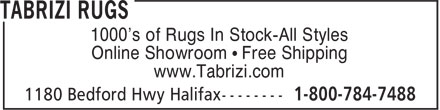 Tabrizi Rugs (1-800-784-7488) - Annonce illustrée======= - 1000's of Rugs In Stock-All Styles Online Showroom • Free Shipping www.Tabrizi.com
