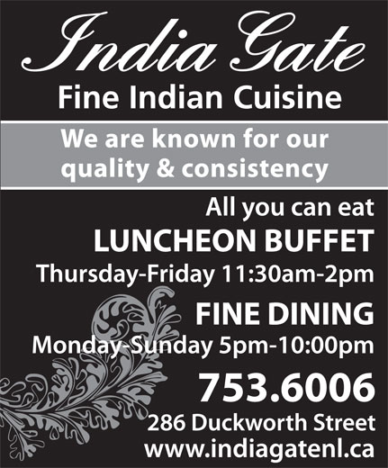 India Gate Restaurant (709-753-6006) - Display Ad -