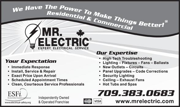 Mr. Electric (709-726-9473) - Annonce illustrée======= -