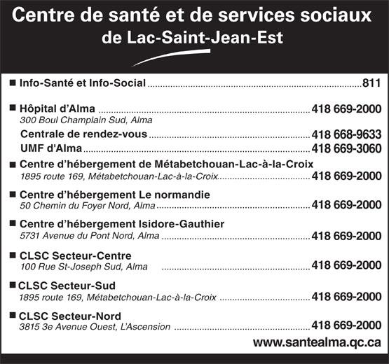 Centre de santé et de services sociaux de Lac-St-Jean-Est (418-669-2000) - Annonce illustrée======= - Centre de santé et de services sociaux de Lac-Saint-Jean-Est Info-Santé et Info-Social ..................................................................................... 811 Hôpital d Alma .................................................................................... 418 669-2000 300 Boul Champlain Sud, Alma Centrale de rendez-vous ................................................................ 418 668-9633 UMF d'Alma .......................................................................................... 418 669-3060 Centre d hébergement de Métabetchouan-Lac-à-la-Croix ..................................... 1895 route 169, Métabetchouan-Lac-à-la-Croix 418 669-2000 Centre d hébergement Le normandie ............................................................. 5731 Avenue du Pont Nord, Alma ........................................................... 418 669-2000 CLSC Secteur-Centre 418 669-2000 ........................................................... 100 Rue St-Joseph Sud, Alma CLSC Secteur-Sud .................................... 1895 route 169, Métabetchouan-Lac-à-la-Croix Centre d hébergement Isidore-Gauthier 418 669-2000 CLSC Secteur-Nord 418 669-2000 3815 3e Avenue Ouest, L Ascension ...................................................... www.santealma.qc.ca 50 Chemin du Foyer Nord, Alma 418 669-2000