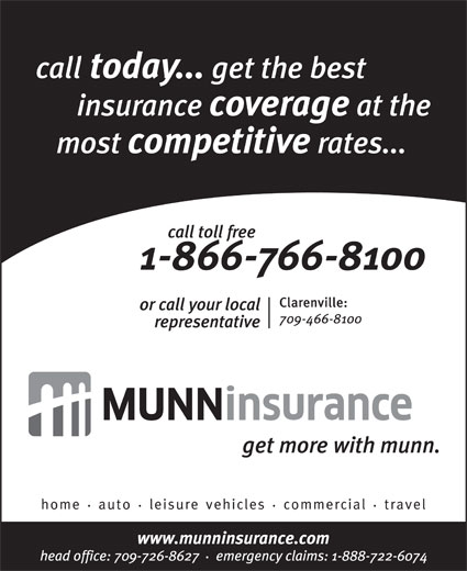 Munn Insurance (709-726-8627) - Annonce illustrée======= -