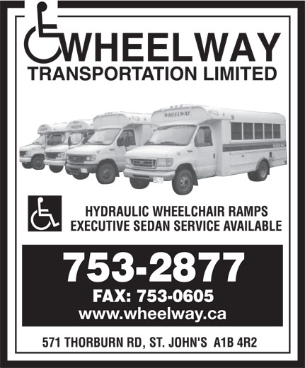Wheelway Transportation Limited (709-753-2877) - Display Ad - www.wheelway.ca