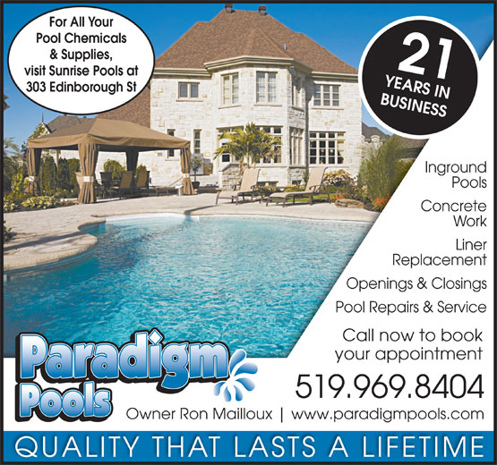 Paradigm pools 303 edinborough st windsor on for Inground pool dealers near me