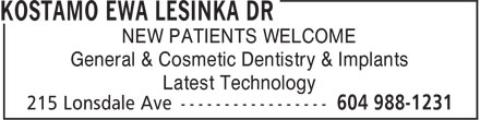 Hrabar Roman G Dr (604-988-1231) - Annonce illustrée======= - NEW PATIENTS WELCOME General & Cosmetic Dentistry & Implants Latest Technology