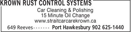Strait Car Care Auto Detailing &Krown Rust Control (902-625-1440) - Annonce illustrée======= - Car Cleaning & Polishing 15 Minute Oil Change www.straitcarcarekrown.ca