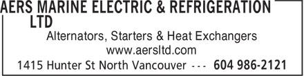 AERS Marine Electric & Refrigeration Ltd (604-986-2121) - Annonce illustrée======= - Alternators, Starters & Heat Exchangers www.aersltd.com