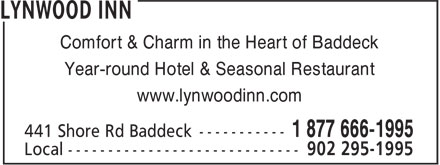 Lynwood Inn (902-295-1995) - Display Ad - Comfort & Charm in the Heart of Baddeck Year-round Hotel & Seasonal Restaurant www.lynwoodinn.com