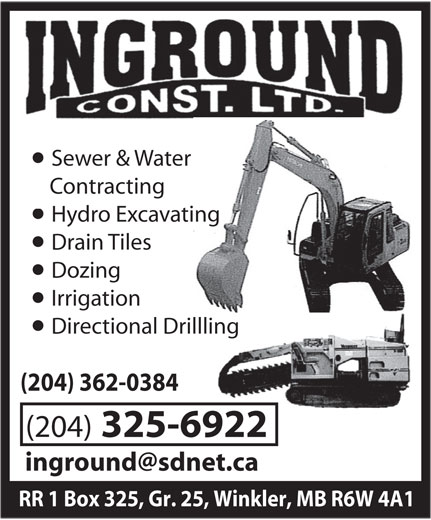 Inground Construction Ltd (204-325-6922) - Annonce illustrée======= -
