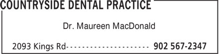 Countryside Dental Practice (902-567-2347) - Annonce illustrée======= - Dr. Maureen MacDonald