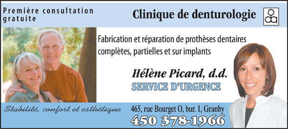 Clinique de Denturologie Hélène Picard (450-378-1966) - Annonce illustrée======= - 465, rue Bourget O, bur. 1, Granby