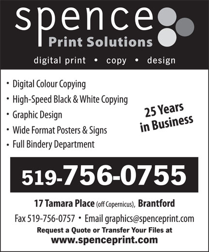 Spence Print Solutions (519-756-0755) - Display Ad -