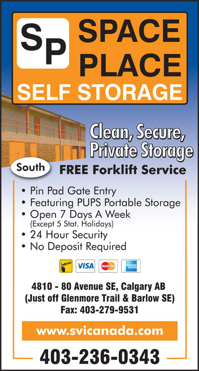 Space Place Self Storage (403-236-0343) - Display Ad -