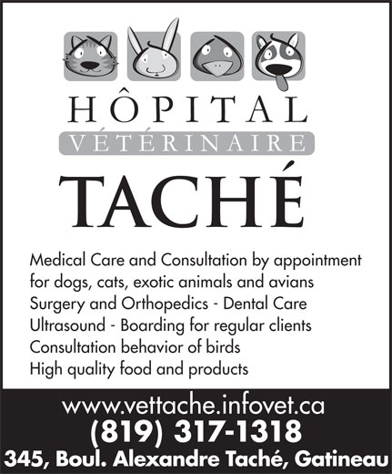 Hôpital Vétérinaire Taché (819-777-5583) - Annonce illustrée======= - 345, Boul. Alexandre Taché, Gatineau for dogs, cats, exotic animals and avians Surgery and Orthopedics - Dental Care Ultrasound - Boarding for regular clients Consultation behavior of birds High quality food and products www.vettache.infovet.ca (819) 317-1318 345, Boul. Alexandre Taché, Gatineau Medical Care and Consultation by appointment Medical Care and Consultation by appointment for dogs, cats, exotic animals and avians Surgery and Orthopedics - Dental Care Ultrasound - Boarding for regular clients Consultation behavior of birds High quality food and products www.vettache.infovet.ca (819) 317-1318