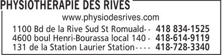 Physiothérapie des Rives (418-834-1525) - Annonce illustrée======= - www.physiodesrives.com