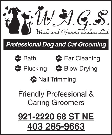 W A G S Wash & Groom Salon Ltd (403-285-9663) - Display Ad - Professional Dog and Cat Grooming Bath Ear Cleaning Plucking Blow Drying Nail Trimming Friendly Professional & Caring Groomers 921-2220 68 ST NE 403 285-9663 Professional Dog and Cat Grooming Bath Ear Cleaning Plucking Blow Drying Nail Trimming Friendly Professional & Caring Groomers 403 285-9663 921-2220 68 ST NE
