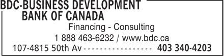 BDC Banque de développement du Canada (403-340-4203) - Annonce illustrée======= - Financing - Consulting 1 888 463-6232 / www.bdc.ca
