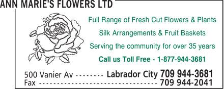 Ann Marie's Flowers Ltd (709-944-3681) - Annonce illustrée======= - Full Range of Fresh Cut Flowers & Plants Silk Arrangements & Fruit Baskets Serving the community for over 35 years Call us Toll Free - 1-877-944-3681