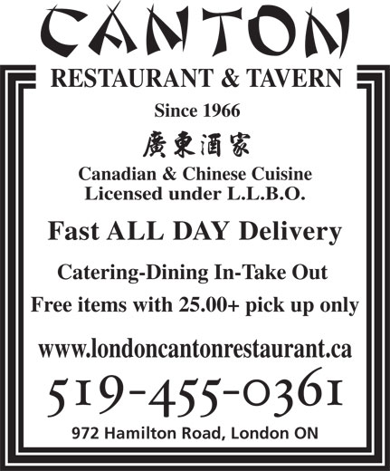 Canton Restaurant & Tavern (519-455-0361) - Display Ad -