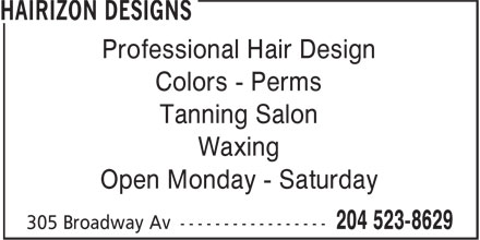 Pinnacle Touch (204-523-8629) - Annonce illustrée======= - Professional Hair Design Colors - Perms Tanning Salon Waxing Open Monday - Saturday