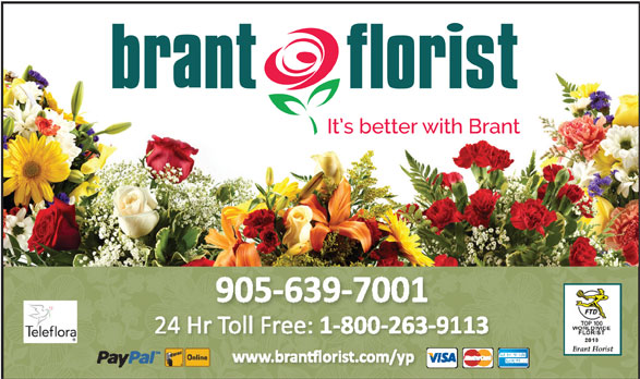 Brant Florist (905-639-7001) - Display Ad -