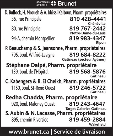 Pharmacie Philippe Beauchamp Et Sylvie Jeansonne (819-684-8222) - Display Ad -