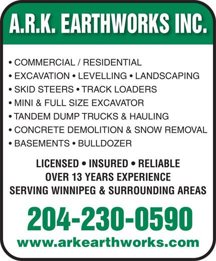 A R K Earthworks (204-230-0590) - Annonce illustrée======= -