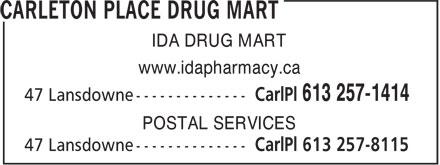 Carleton Place Drugmart (613-257-1414) - Annonce illustrée======= - IDA DRUG MART www.idapharmacy.ca POSTAL SERVICES