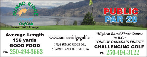 Ads Sumac Ridge Golf & Country Club Ltd