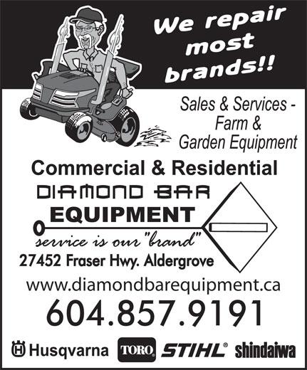 Diamond Bar Equipment (604-857-9191) - Annonce illustrée======= - www.diamondbarequipment.ca