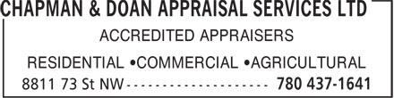 Chapman & Doan Appraisal Services Ltd (780-437-1641) - Annonce illustrée======= - ACCREDITED APPRAISERS RESIDENTIAL ¿COMMERCIAL ¿AGRICULTURAL ACCREDITED APPRAISERS RESIDENTIAL ¿COMMERCIAL ¿AGRICULTURAL