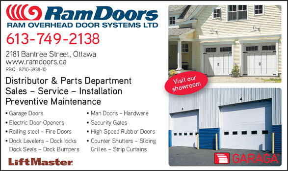 Ram Overhead Door Systems Ltd (613-749-2138) - Annonce illustrée======= - RAM OVERHEAD DOOR SYSTEMS LTD