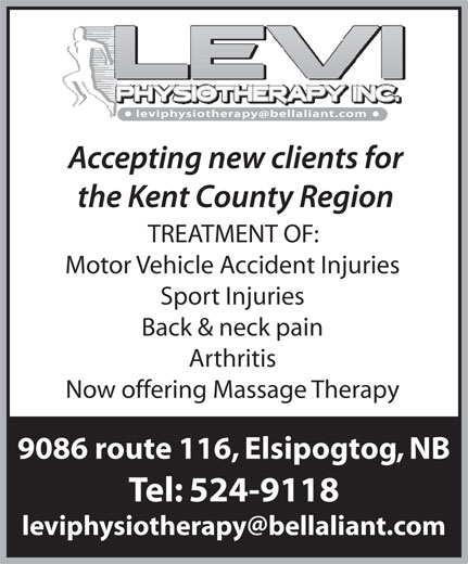 Levi Physiotherapy Inc (506-524-9118) - Annonce illustrée======= - Motor Vehicle Accident Injuries Sport Injuries Back & neck pain Arthritis Now offering Massage Therapy 9086 route 116, Elsipogtog, NB Tel: 524-9118 TREATMENT OF: