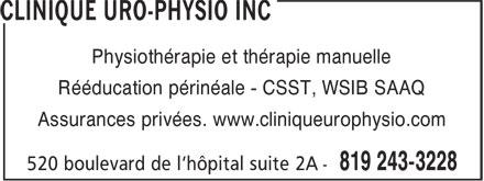 Clinique Uro-physio Inc (819-243-3228) - Annonce illustrée======= - Physiothérapie et thérapie manuelle Rééducation périnéale - CSST, WSIB SAAQ Assurances privées. www.cliniqueurophysio.com
