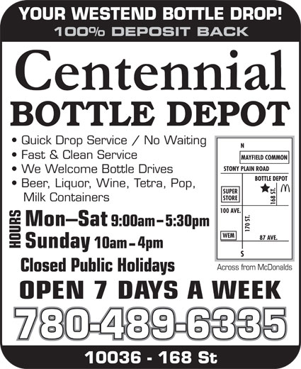 Centennial Bottle Depot (780-489-6335) - Display Ad -