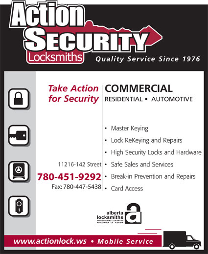 Action Security Locksmiths (780-451-9292) - Display Ad - 780-451-9292 Fax: 780-447-5438 780-451-9292 Fax: 780-447-5438