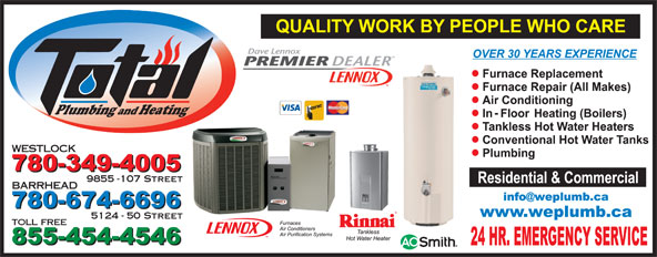 Total Plumbing & Heating (780-349-4005) - Display Ad - Plumbing and Heating 9855 -107 Street BARRHEAD 5124 - 50 Street toll free WESTLOCK
