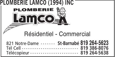 Plomberie Lamco (1994) Inc (819-264-5623) - Annonce illustrée======= - Résidentiel - Commercial