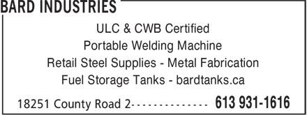 Bard Industries (613-931-1616) - Annonce illustrée======= - ULC & CWB Certified Portable Welding Machine Retail Steel Supplies - Metal Fabrication Fuel Storage Tanks - bardtanks.ca